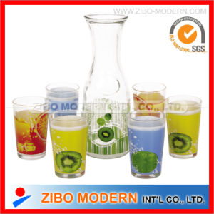7PC Printed Glass Drink Dispenser Glass Tumbler pictures & photos