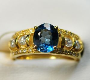 925 Silver Ring Blue Topaz (LBT0014)
