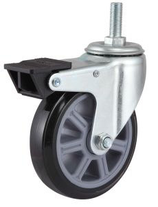 Threaded Stem PU Caster with Side Brake (Black) pictures & photos