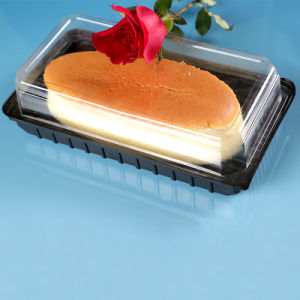 Health Plastic Black Container With Lid For Bread/Cake/Sushi Factory pictures & photos