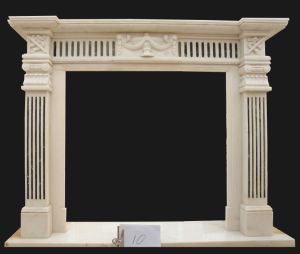 White Marble Carving Fireplace, Green Marble Inlayed (FRP506) pictures & photos