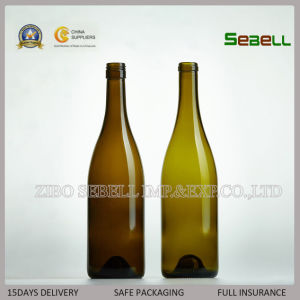 200ml Empty Cork Top Dark Green Red Wine Glass Bottle (NA-015) pictures & photos