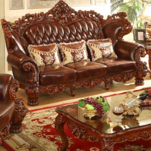 Antique Wood Leather Sofa Set for Home Furniture (529) pictures & photos