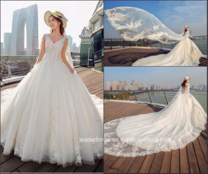 Sleeveless Bridal Gowns Lace Beading Puffy Wedding Dress Tb418 pictures & photos