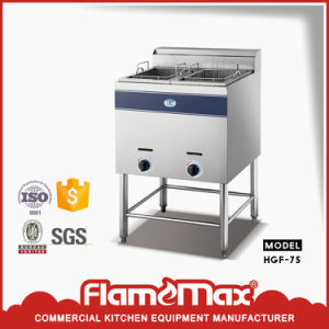 Stainless Steel 2-Tank 2-Basket Gas Fryer with Top Shelf (HGF-906C) pictures & photos
