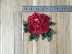 2017 3D Tridimensional Red Flower Patch/ Applique pictures & photos