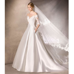3/4 Sleeves Bridal Gowns A-Line Satin Lace Bodice Wedding Dress Lb18713 pictures & photos