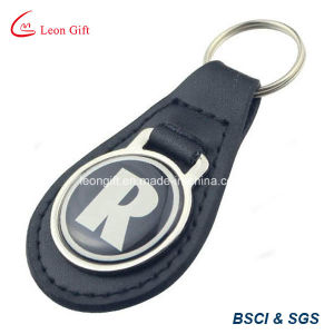 Black Leather Strap Metal Ring Key Fob Keyring Keychain pictures & photos