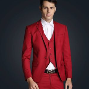 Bespoke Red Suit Anti-Wrinkle Groom Suit for Wedding pictures & photos