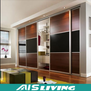 2017 New Design High Gloss MDF Sliding Door Wardrobe (AIS-W002)