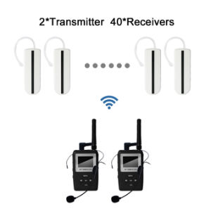 White UHF Earhook Receivers Wireless Tour Guide System 2 Transmitter and 40 Receivers pictures & photos