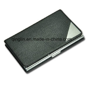 Promotional Hot Sale Black PU Leather Name Card Case pictures & photos
