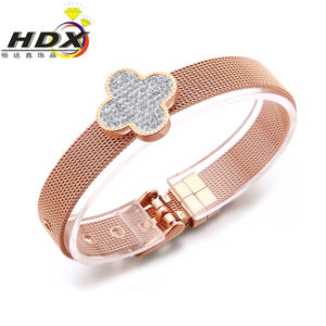 Ladies Fashion Jewelry Stainless Steel Four Leaf Clover Bracelet pictures & photos