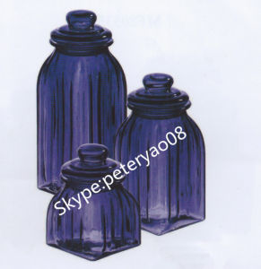 Purple Color Glass Storage Jar with Glass Lid pictures & photos