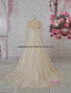 2016 Champagne Long French Lace A-Line Bridal Gowns pictures & photos