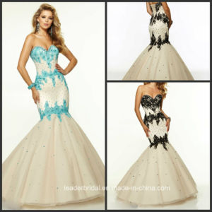 Mermaid Party Evening Gown Black Blue Lace Prom Dresses Z9042 pictures & photos