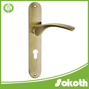 New Model Simple, Classical Brass Door Handle on The Plate pictures & photos