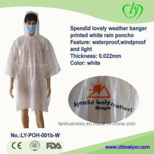Spendid Lovely Weaher Banger Printed White Rain Poncho pictures & photos