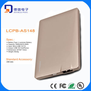 Capacity of 2500mAh Portable Power Bank with Ultra-Thin Sign pictures & photos