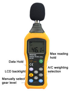 High Quality Digital Db Meter Ms6708 with Measuring Range 30 to 130db