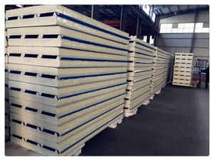 Trapzoidal PU Sandwhich Panel for Prefab Houses pictures & photos