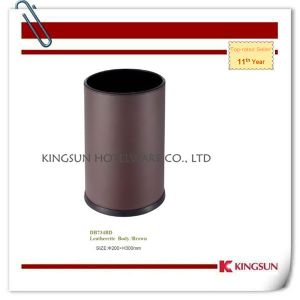 Room Waste Bins with Dark Red Leather Body pictures & photos