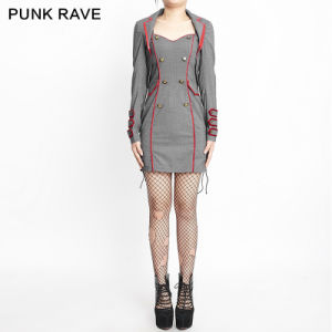 Q-277 Gray Wholesale Halloween Women Sexy Military Latex Uniform Tight Dress pictures & photos