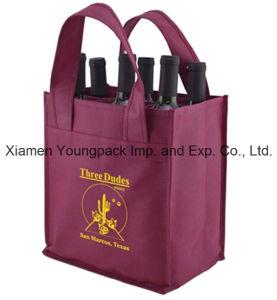 Promotional Burgundy Reusable Shop Cloth Wine Bottle Bag pictures & photos