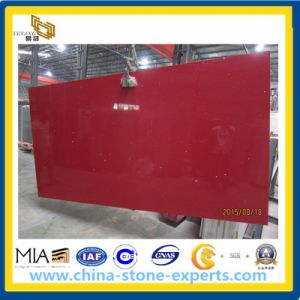 Crystal Red Artificial Quartz Slab for Countertop, Vanity Top pictures & photos