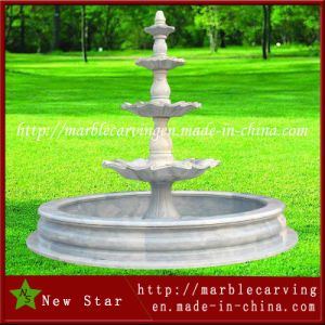3 Tiers Garden Decoration White Marble Garden Fountain pictures & photos
