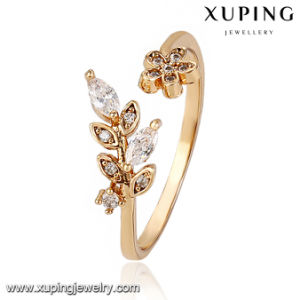 13775 Fashion Latest Cubic Zirconia Leaf Jewelry Finger Ring in 18k Gold -Plated pictures & photos
