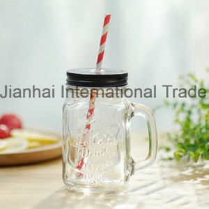 Gift Ideas Glass Mason Drinking Container with Handle pictures & photos