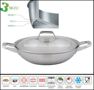 3 Ply Stainless Steel Chinese Cooking Wok pictures & photos