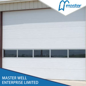 Cheap Steel Rolling Open Style Industrial Door with Rectangle Windows pictures & photos