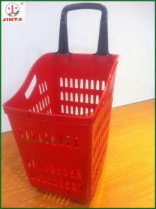 Four Wheel Plastic Shopping Basket (JT-TL-5) pictures & photos