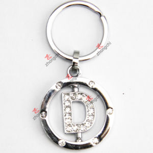 Rotating Letter D Rhinestone Metal Keychain pictures & photos