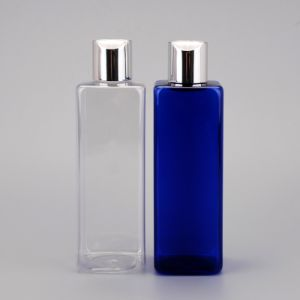High Quality 250ml Pet cosmetic Square Bottle/ Aluminium Cover Disc Top Cap Bottle pictures & photos