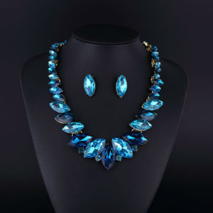 Sapphire Crystal Rhodium Plating Zinc Alloy Necklace Set pictures & photos