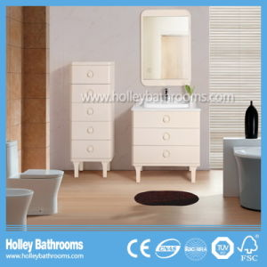 Salable Classic Solid Wood Multilayer Bathroom Vanity with Side Cabinet (BV217W)
