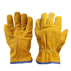 Cow Split Leather Drivers Work Gloves for Driving pictures & photos