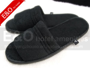 Open Toe Hotel Black Terry Towel Slipper pictures & photos