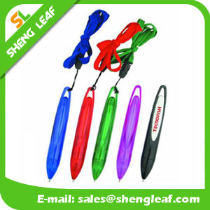 Round Shape Logo Printed on The Lanyard Ball Pen (SLF-LP004)