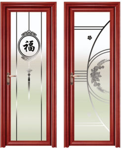 Wooden Color Aluminum Tempered Glass Toilet Door