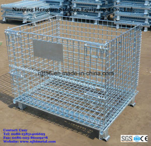 Steel Collapsible Wire Mesh Cage / Storage Basket for Pallet Rack pictures & photos