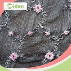 Accessories Grey Beige Lace Strim Nylon and PU Embroidery Fabric pictures & photos
