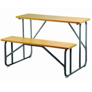 Chinese Wooden School Furniture Double Student Desk and Chair (FS-3234) pictures & photos
