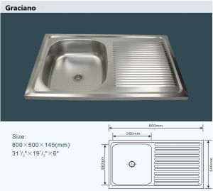 Wholesale Portable Camping Bathroom Stainless Steel Kitchen Hand Wash Sink with Drainboard pictures & photos