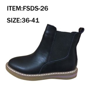 Hot Black High Cut Boots Leather Shoes Women pictures & photos