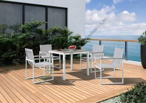 Alum Sling Wood Armrest Outdoor Dining Table and Chairs