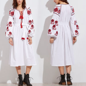 Fashion Women Leisure Casual V-Neck Bandage Embroidery Puff Sleeve Dress pictures & photos